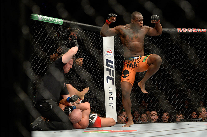 VANCOUVER, BC - JUNE 14:  (R-L) Ovince Saint Preux celebrates after defeating Ryan Jimmo during the UFC 174 event at Rogers Arena on June 14, 2014 in Vancouver, British Columbia, Canada. (Photo by Jeff Bottari/Zuffa LLC/Zuffa LLC via Getty Images)