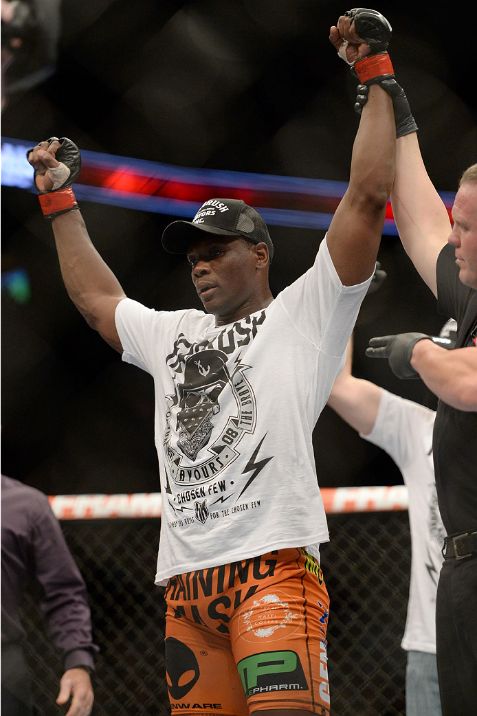 VANCOUVER, BC - JUNE 14:  Ovince Saint Preux celebrates after defeating Ryan Jimmo during the UFC 174 event at Rogers Arena on June 14, 2014 in Vancouver, British Columbia, Canada. (Photo by Jeff Bottari/Zuffa LLC/Zuffa LLC via Getty Images)