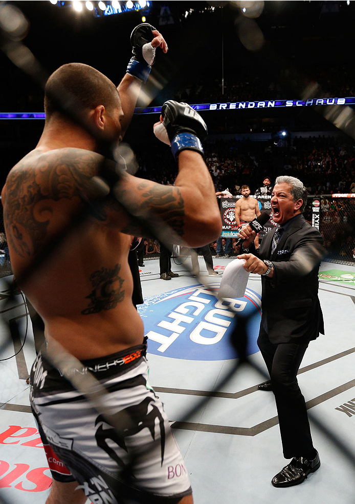 VANCOUVER, BC - JUNE 14:  Brendan Schaub is introduced by Bruce Buffer before his heavyweight bout against Andrei Arlovski at Rogers Arena on June 14, 2014 in Vancouver, Canada.  (Photo by Josh Hedges/Zuffa LLC/Zuffa LLC via Getty Images)
