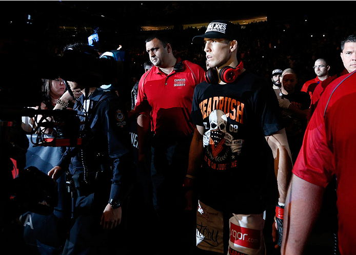 VANCOUVER, BC - JUNE 14:  Rory MacDonald enters the arena before facing Tyron Woodley in their welterweight bout at Rogers Arena on June 14, 2014 in Vancouver, Canada.  (Photo by Josh Hedges/Zuffa LLC/Zuffa LLC via Getty Images)