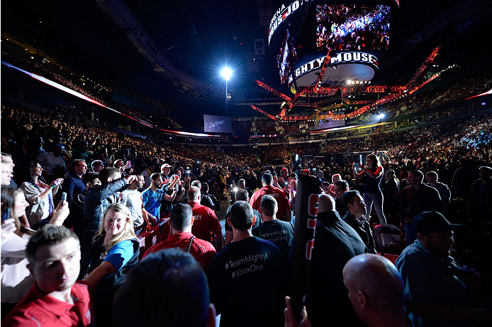 VANCOUVER, BC - JUNE 14:  A general view of Demetrious 'Mighty Mouse' Johnson walking into the arena before his championship bout against Ali Bagautinov during the UFC 174 event at Rogers Arena on June 14, 2014 in Vancouver, British Columbia, Canada. (Pho