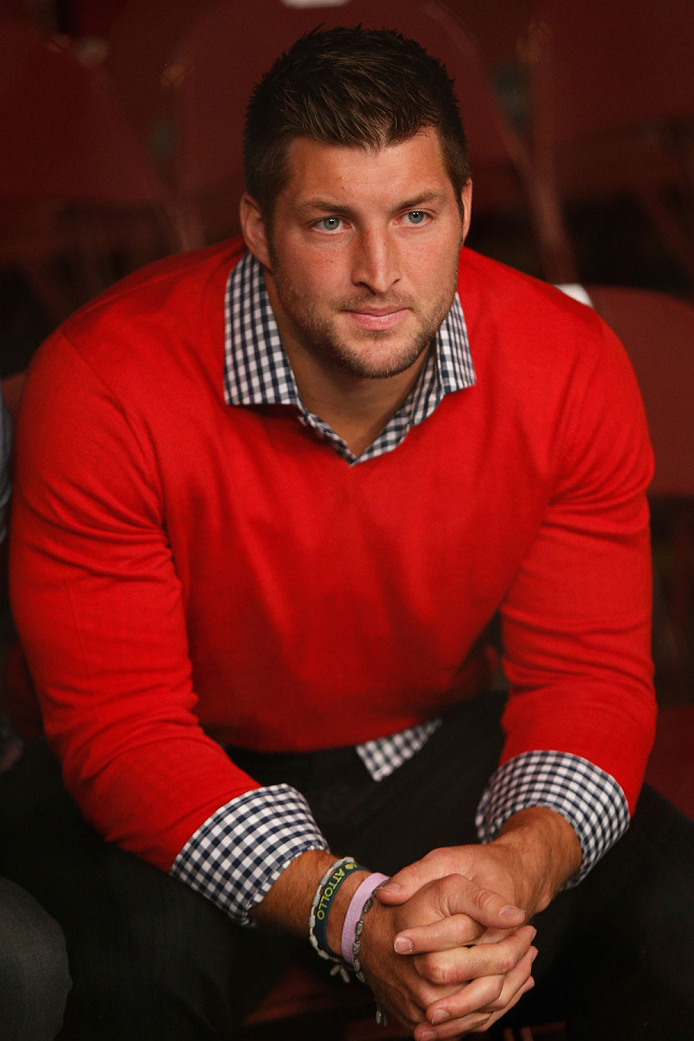 VANCOUVER, BC - JUNE 14:  Former Heisman Trophy winning and Denver Broncos quarterback Tim Tebow attends the UFC 174 event at Rogers Arena on June 14, 2014 in Vancouver, Canada.  (Photo by Josh Hedges/Zuffa LLC/Zuffa LLC via Getty Images)