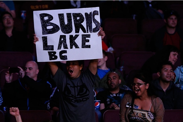 VANCOUVER, BC - JUNE 14:  Fans display a sign in support of Kajan Johnson from Burns Lake, BC during his lightweight bout against Tae Hyun Bang at Rogers Arena on June 14, 2014 in Vancouver, Canada.  (Photo by Josh Hedges/Zuffa LLC/Zuffa LLC via Getty Ima