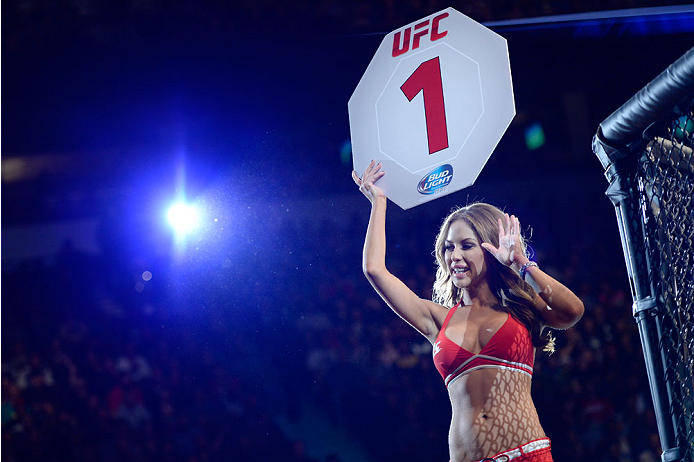VANCOUVER, BC - JUNE 14:  UFC Octagon Girl Brittney Palmer signals the start of round one between Ovince Saint Preux and Ryan Jimmo during the UFC 174 event at Rogers Arena on June 14, 2014 in Vancouver, British Columbia, Canada. (Photo by Jeff Bottari/Zu