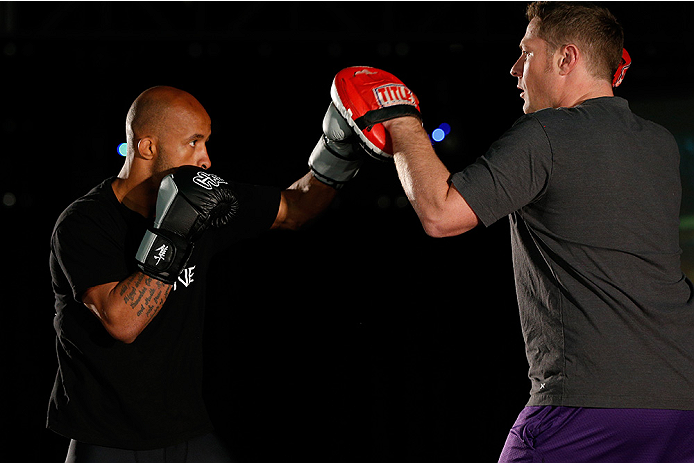 VANCOUVER, CANADA - JUNE 12:  Demetrious Johnson holds an open training session for media at the EA Sports Capture Lab on June 12, 2014 in Vancouver, British Columbia, Canada. (Photo by Josh Hedges/Zuffa LLC/Zuffa LLC via Getty Images)
