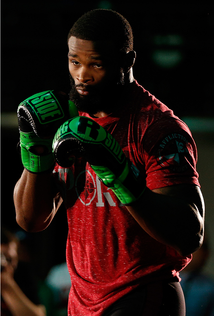 VANCOUVER, CANADA - JUNE 12:  Tyron Woodley holds an open training session for media at the EA Sports Capture Lab on June 12, 2014 in Vancouver, British Columbia, Canada. (Photo by Josh Hedges/Zuffa LLC/Zuffa LLC via Getty Images)