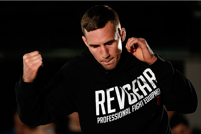 VANCOUVER, CANADA - JUNE 12:  Rory MacDonald holds an open training session for media at the EA Sports Capture Lab on June 12, 2014 in Vancouver, British Columbia, Canada. (Photo by Josh Hedges/Zuffa LLC/Zuffa LLC via Getty Images)