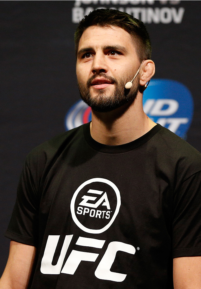 VANCOUVER, BC - JUNE 13:  Carlos Condit interacts with fans during a Q&A session before the UFC 174 weigh-in at Rogers Arena on June 13, 2014 in Vancouver, Canada.  (Photo by Josh Hedges/Zuffa LLC/Zuffa LLC via Getty Images)