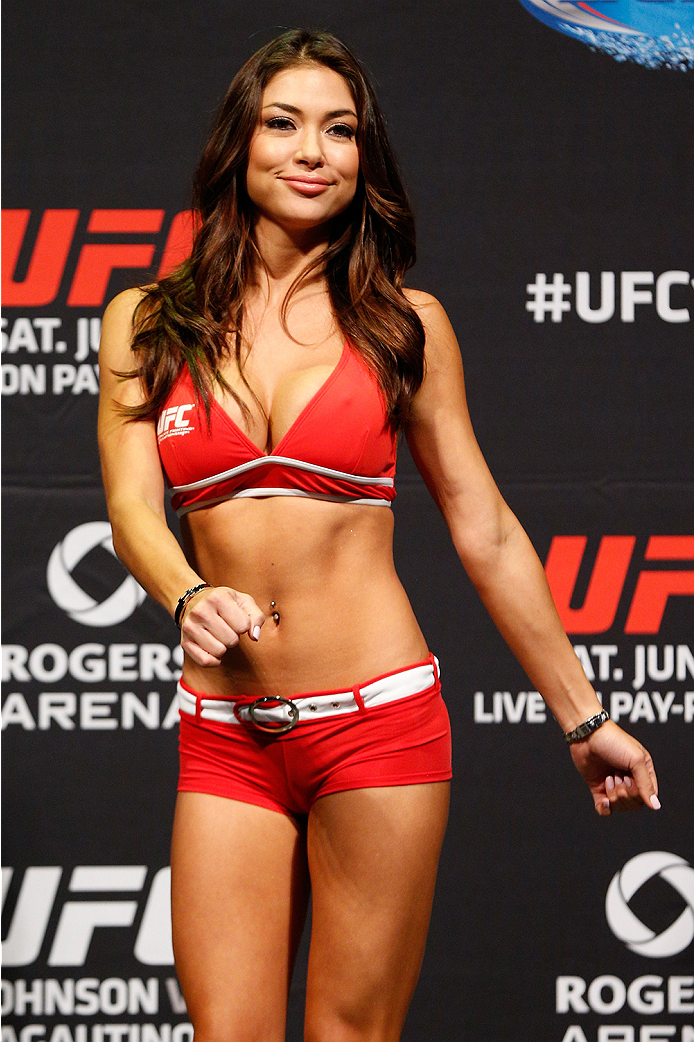 VANCOUVER, BC - JUNE 13:  UFC Octagon Girl Arianny Celeste stands on stage during the UFC 174 weigh-in at Rogers Arena on June 13, 2014 in Vancouver, Canada.  (Photo by Josh Hedges/Zuffa LLC/Zuffa LLC via Getty Images)