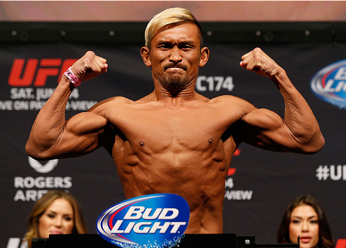 VANCOUVER, BC - JUNE 13:  Kiichi Kunimoto of Japan weighs in during the UFC 174 weigh-in at Rogers Arena on June 13, 2014 in Vancouver, Canada.  (Photo by Josh Hedges/Zuffa LLC/Zuffa LLC via Getty Images)