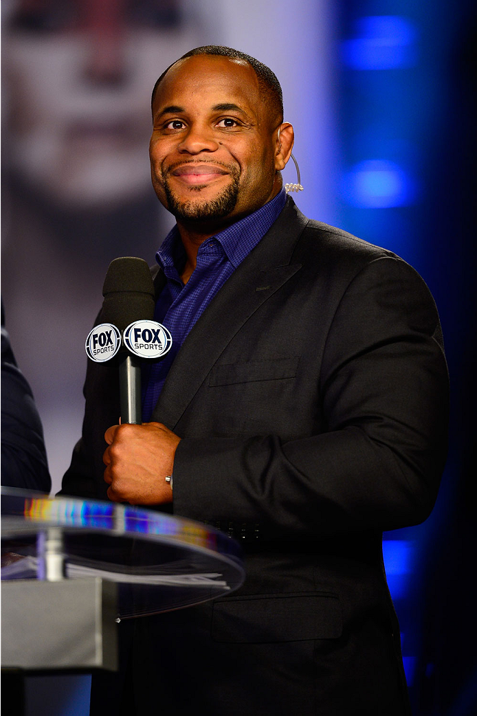 LAS VEGAS, NV - JULY 4:  Mixed martial artist Daniel Cormier smiles on the FOX television desk during the UFC 175 weigh-in inside the Mandalay Bay Events Center on July 4, 2014 in Las Vegas, Nevada. (Photo by Jeff Bottari/Zuffa LLC/Zuffa LLC via Getty Ima