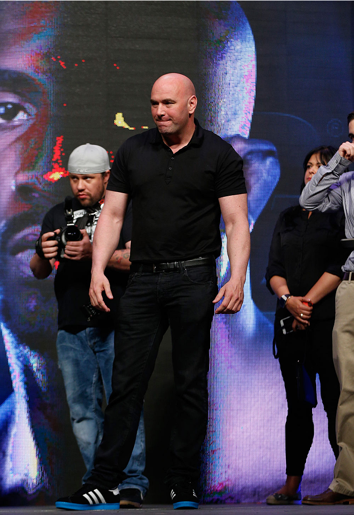 LAS VEGAS, NV - JULY 04:  UFC President Dana White stands on stage during the UFC 175 weigh-in inside the Mandalay Bay Events Center on July 4, 2014 in Las Vegas, Nevada.  (Photo by Josh Hedges/Zuffa LLC/Zuffa LLC via Getty Images)