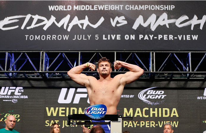 LAS VEGAS, NV - JULY 04:  Matt Mitrione weighs in during the UFC 175 weigh-in inside the Mandalay Bay Events Center on July 4, 2014 in Las Vegas, Nevada.  (Photo by Josh Hedges/Zuffa LLC/Zuffa LLC via Getty Images)
