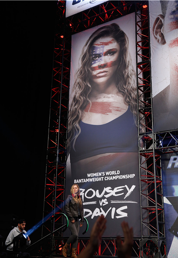 LAS VEGAS, NV - JULY 04:  UFC Women's Bantamweight Champion Ronda Rousey walks onto the stage during the UFC 175 weigh-in inside the Mandalay Bay Events Center on July 4, 2014 in Las Vegas, Nevada.  (Photo by Josh Hedges/Zuffa LLC/Zuffa LLC via Getty Imag