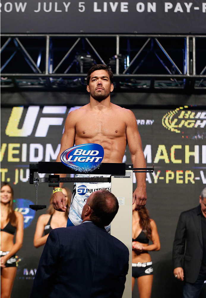 LAS VEGAS, NV - JULY 04:  Lyoto Machida weighs in during the UFC 175 weigh-in inside the Mandalay Bay Events Center on July 4, 2014 in Las Vegas, Nevada.  (Photo by Josh Hedges/Zuffa LLC/Zuffa LLC via Getty Images)