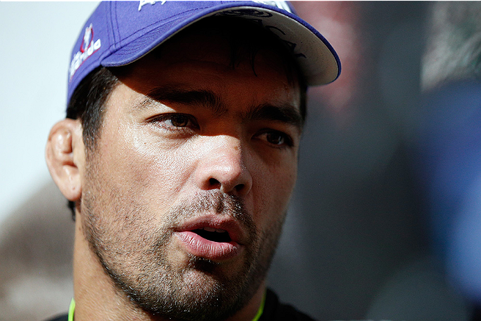 LAS VEGAS, NV - JULY 02:  UFC middleweight title challenger Lyoto Machida interacts with media after an open training session ahead of UFC 175 at the Fashion Show Mall on July 2, 2014 in Las Vegas, Nevada.  (Photo by Josh Hedges/Zuffa LLC/Zuffa LLC via Ge