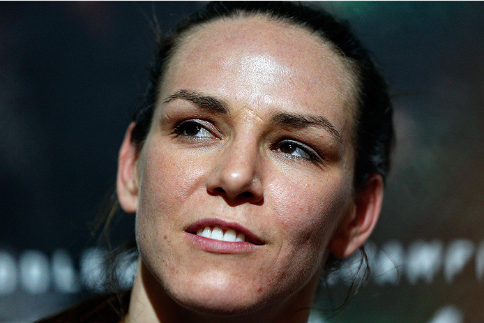 LAS VEGAS, NV - JULY 02:  Alexis Davis interacts with media after an open training session ahead of UFC 175 at the Fashion Show Mall on July 2, 2014 in Las Vegas, Nevada.  (Photo by Josh Hedges/Zuffa LLC/Zuffa LLC via Getty Images)