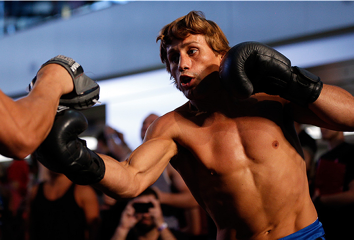 LAS VEGAS, NV - JULY 02:  Urijah Faber holds an open training session ahead of UFC 175 at the Fashion Show Mall on July 2, 2014 in Las Vegas, Nevada.  (Photo by Josh Hedges/Zuffa LLC/Zuffa LLC via Getty Images)