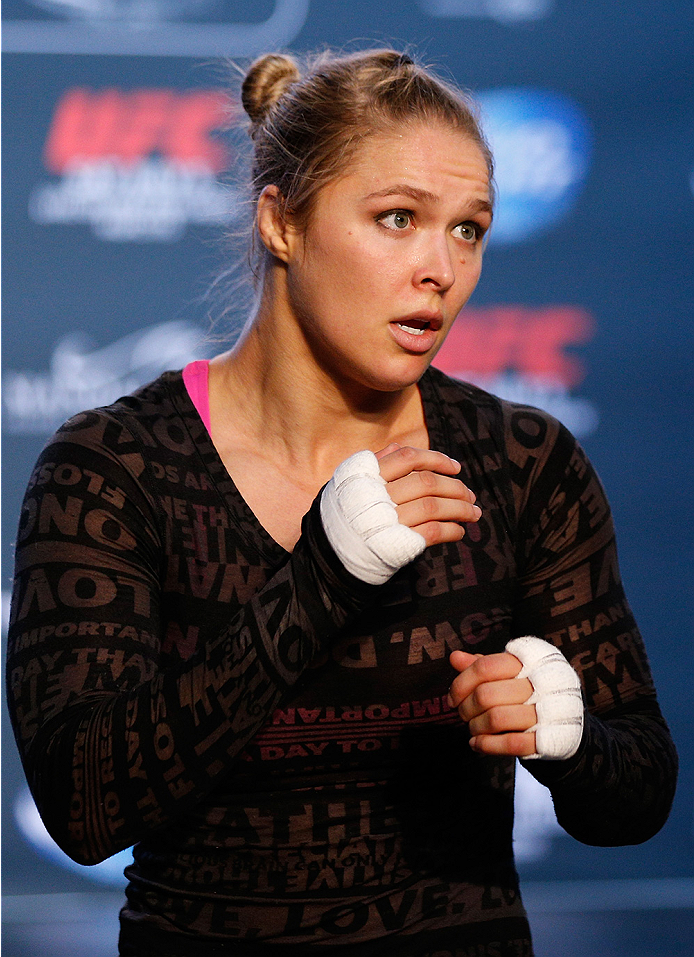 LAS VEGAS, NV - JULY 02:  UFC women's bantamweight champion Ronda Rousey holds an open training session ahead of UFC 175 at the Fashion Show Mall on July 2, 2014 in Las Vegas, Nevada.  (Photo by Josh Hedges/Zuffa LLC/Zuffa LLC via Getty Images)