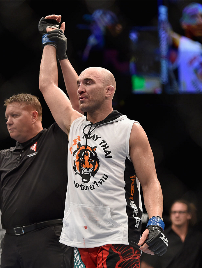 LAS VEGAS, NV - SEPTEMBER 27:  Brian Ebersole celebrates his win over John Howard after their welterweight fight during the UFC 178 event inside the MGM Grand Garden Arena on September 27, 2014 in Las Vegas, Nevada.  (Photo by Jeff Bottari/Zuffa LLC/Zuffa