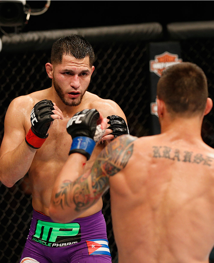 LAS VEGAS, NV - SEPTEMBER 27:  (L-R) Jorge Masvidal squares off with James Krause in their lightweight fight during the UFC 178 event inside the MGM Grand Garden Arena on September 27, 2014 in Las Vegas, Nevada.  (Photo by Josh Hedges/Zuffa LLC/Zuffa LLC