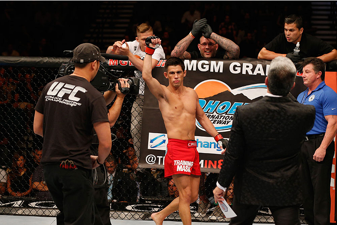 LAS VEGAS, NV - SEPTEMBER 27:  Dominick Cruz enters the Octagon in his bantamweight fight against Takeya Mizugaki during the UFC 178 event inside the MGM Grand Garden Arena on September 27, 2014 in Las Vegas, Nevada.  (Photo by Josh Hedges/Zuffa LLC/Zuffa