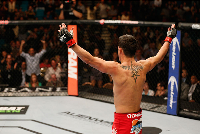 LAS VEGAS, NV - SEPTEMBER 27:  Dominick Cruz celebrates after his victory over Takeya Mizugaki in their bantamweight fight during the UFC 178 event inside the MGM Grand Garden Arena on September 27, 2014 in Las Vegas, Nevada.  (Photo by Josh Hedges/Zuffa