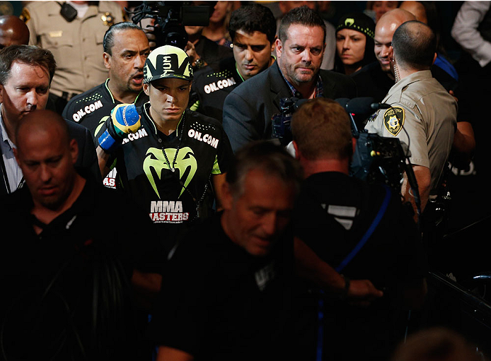 LAS VEGAS, NV - SEPTEMBER 27:  Amanda Nunes enters the arena for her fight with Cat Zingano in their women's bantamweight fight during the UFC 178 event inside the MGM Grand Garden Arena on September 27, 2014 in Las Vegas, Nevada.  (Photo by Josh Hedges/Z