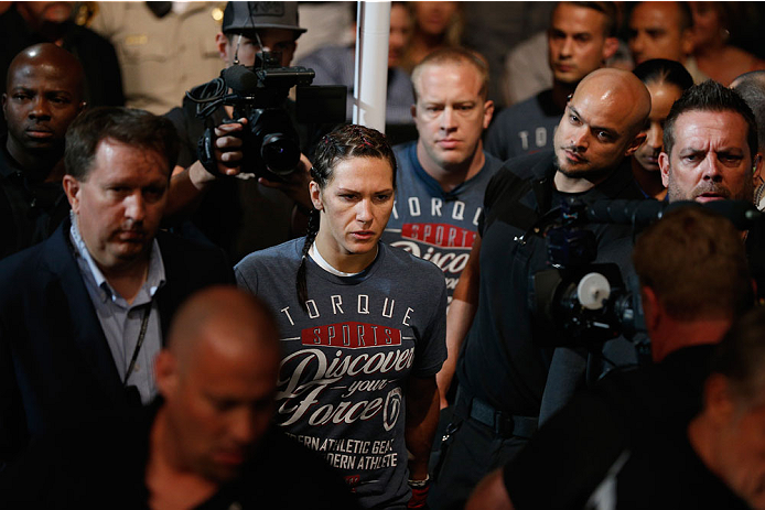 LAS VEGAS, NV - SEPTEMBER 27:  Cat Zingano enters the arena for her fight with Amanda Nunes before their women's bantamweight fight during the UFC 178 event inside the MGM Grand Garden Arena on September 27, 2014 in Las Vegas, Nevada.  (Photo by Josh Hedg