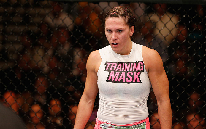 LAS VEGAS, NV - SEPTEMBER 27:  Cat Zingano prepares for her fight with Amanda Nunes in their women's bantamweight fight during the UFC 178 event inside the MGM Grand Garden Arena on September 27, 2014 in Las Vegas, Nevada.  (Photo by Josh Hedges/Zuffa LLC
