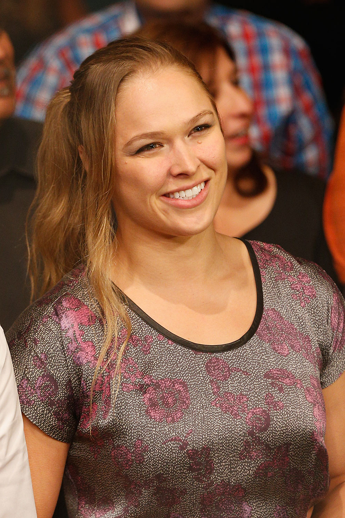 LAS VEGAS, NV - SEPTEMBER 27:  UFC Women's Bantamweight champion Ronda Rousey is in attendance during the UFC 178 event inside the MGM Grand Garden Arena on September 27, 2014 in Las Vegas, Nevada.  (Photo by Josh Hedges/Zuffa LLC/Zuffa LLC via Getty Imag
