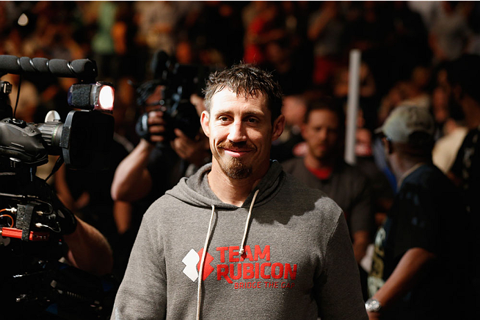 LAS VEGAS, NV - SEPTEMBER 27:  Tim Kennedy enters the arena for his fight with Yoel Romero before their middleweight fight during the UFC 178 event inside the MGM Grand Garden Arena on September 27, 2014 in Las Vegas, Nevada.  (Photo by Josh Hedges/Zuffa
