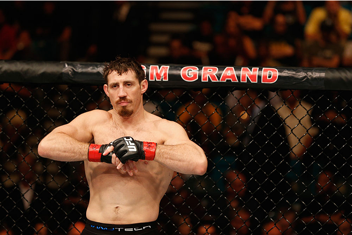 LAS VEGAS, NV - SEPTEMBER 27:  Tim Kennedy enters the Octagon for his fight with Yoel Romero in their middleweight fight during the UFC 178 event inside the MGM Grand Garden Arena on September 27, 2014 in Las Vegas, Nevada.  (Photo by Josh Hedges/Zuffa LL