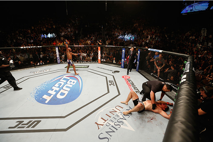 LAS VEGAS, NV - SEPTEMBER 27:  (L-R) Yoel Romero celebrates his TKO win over Tim Kennedy in their middleweight fight during the UFC 178 event inside the MGM Grand Garden Arena on September 27, 2014 in Las Vegas, Nevada.  (Photo by Josh Hedges/Zuffa LLC/Zu