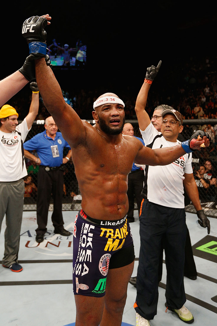 LAS VEGAS, NV - SEPTEMBER 27:  Yoel Romero celebrates after his TKO win over Tim Kennedy in their middleweight fight during the UFC 178 event inside the MGM Grand Garden Arena on September 27, 2014 in Las Vegas, Nevada.  (Photo by Josh Hedges/Zuffa LLC/Zu