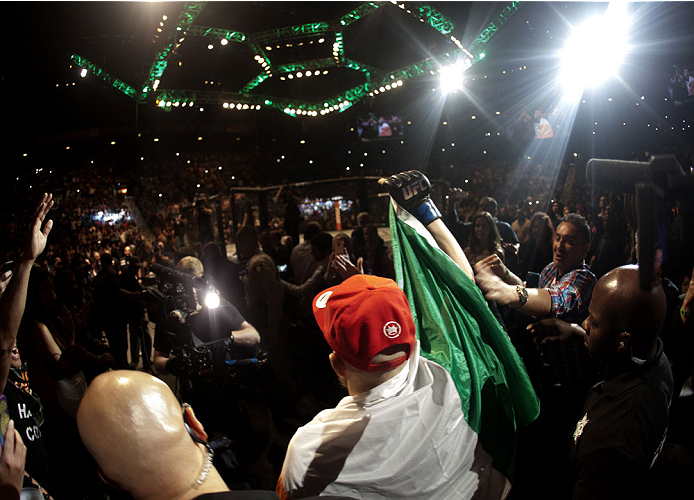 LAS VEGAS, NV - SEPTEMBER 27:  Conor McGregor prepares to enter the Octagon before his fight against Dustin Poirier during the UFC 178 event inside the MGM Grand Garden Arena on September 27, 2014 in Las Vegas, Nevada. (Photo by Brandon Magnus/Zuffa LLC/Z
