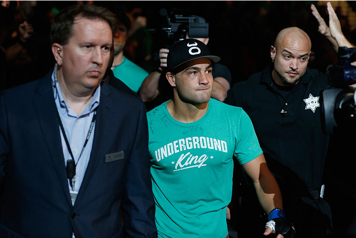 LAS VEGAS, NV - SEPTEMBER 27:  Eddie Alvarez enters the arena for his lightweight fight with Donald Cerrone during the UFC 178 event inside the MGM Grand Garden Arena on September 27, 2014 in Las Vegas, Nevada.  (Photo by Josh Hedges/Zuffa LLC/Zuffa LLC v