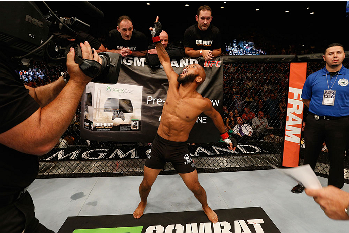 LAS VEGAS, NV - SEPTEMBER 27:  UFC Flyweight champion Demetrious Johnson before his flyweight championship fight with Chris Cariaso during the UFC 178 event inside the MGM Grand Garden Arena on September 27, 2014 in Las Vegas, Nevada.  (Photo by Josh Hedg