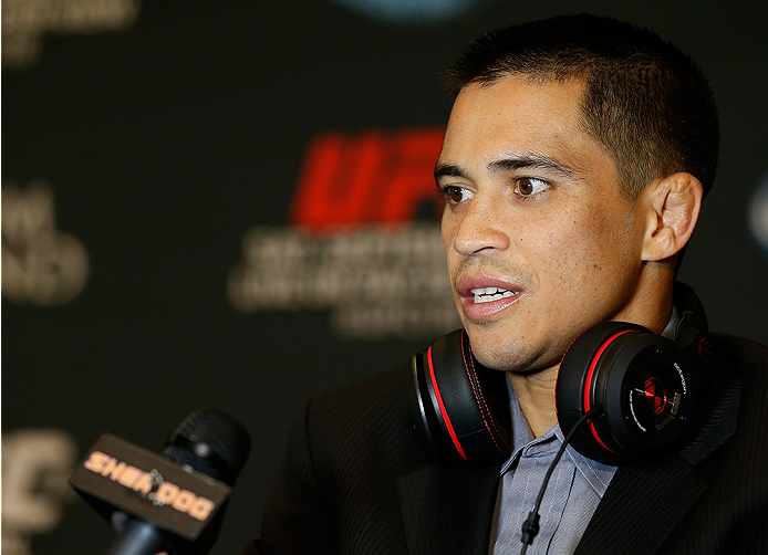 LAS VEGAS, NV - SEPTEMBER 25:  Chris Cariaso interacts with media during the UFC 178 Ultimate Media Day at the MGM Grand Hotel/Casino on September 25, 2014 in Las Vegas, Nevada. (Photo by Josh Hedges/Zuffa LLC/Zuffa LLC via Getty Images)