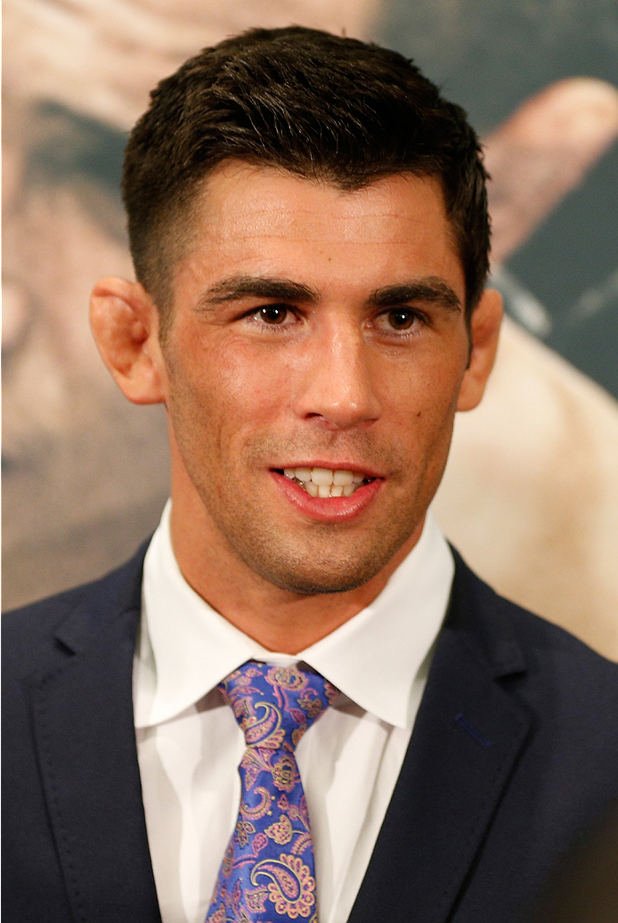 LAS VEGAS, NV - SEPTEMBER 25:  Dominick Cruz interacts with media during the UFC 178 Ultimate Media Day at the MGM Grand Hotel/Casino on September 25, 2014 in Las Vegas, Nevada. (Photo by Josh Hedges/Zuffa LLC/Zuffa LLC via Getty Images)