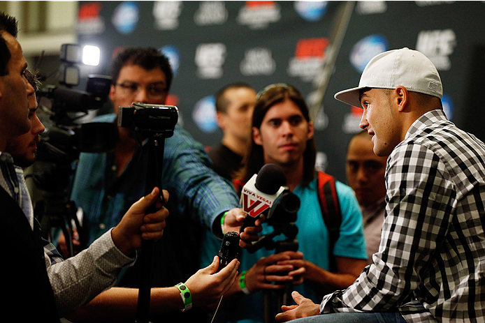 LAS VEGAS, NV - SEPTEMBER 25:  Eddie Alvarez interacts with media during the UFC 178 Ultimate Media Day at the MGM Grand Hotel/Casino on September 25, 2014 in Las Vegas, Nevada. (Photo by Josh Hedges/Zuffa LLC/Zuffa LLC via Getty Images)