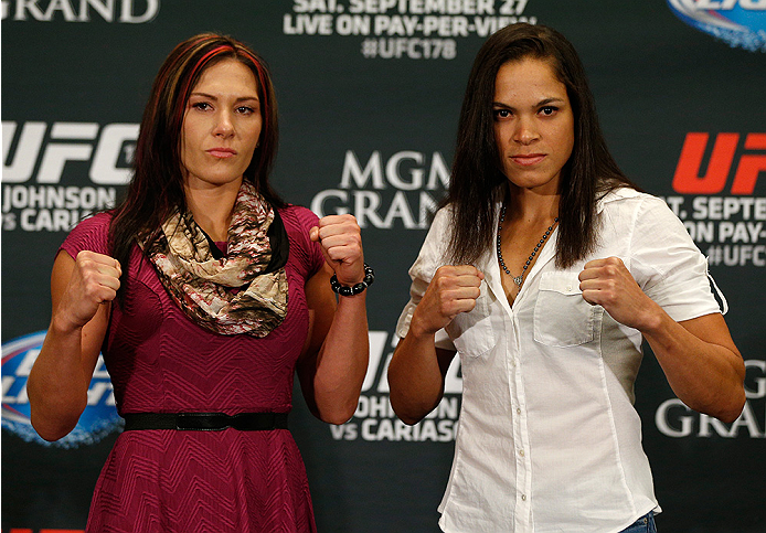 LAS VEGAS, NV - SEPTEMBER 25:  (L-R) Opponents Cat Zingano and Amanda Nunes of Brazil pose for photos during the UFC 178 Ultimate Media Day at the MGM Grand Hotel/Casino on September 25, 2014 in Las Vegas, Nevada. (Photo by Josh Hedges/Zuffa LLC/Zuffa LLC
