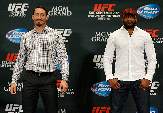 LAS VEGAS, NV - SEPTEMBER 25:  (L-R) Opponents Tim Kennedy and Yoel Romero of Cuba pose for photos during the UFC 178 Ultimate Media Day at the MGM Grand Hotel/Casino on September 25, 2014 in Las Vegas, Nevada. (Photo by Josh Hedges/Zuffa LLC/Zuffa LLC vi