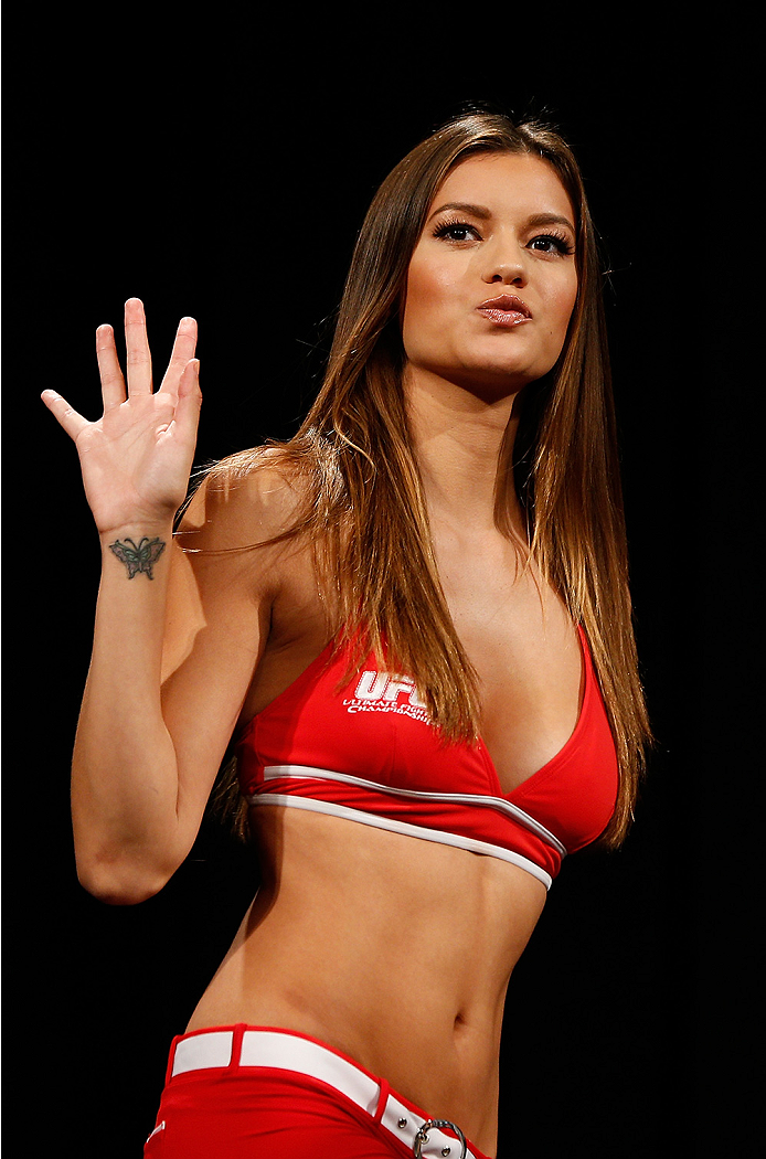 LAS VEGAS, NV - SEPTEMBER 26:  UFC Octagon Girl Vanessa Hanson stands on stage during the UFC 178 weigh-in at the MGM Grand Conference Center on September 26, 2014 in Las Vegas, Nevada. (Photo by Josh Hedges/Zuffa LLC/Zuffa LLC via Getty Images)