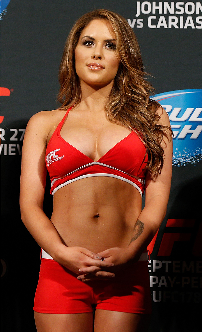 LAS VEGAS, NV - SEPTEMBER 26:  UFC Octagon Girl Brittney Palmer stands on stage during the UFC 178 weigh-in at the MGM Grand Conference Center on September 26, 2014 in Las Vegas, Nevada. (Photo by Josh Hedges/Zuffa LLC/Zuffa LLC via Getty Images)