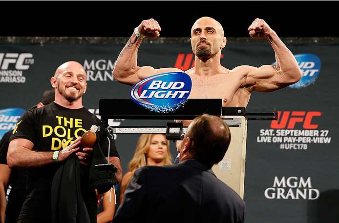 LAS VEGAS, NV - SEPTEMBER 26:  Manvel Gamburyan of Armenia weighs in during the UFC 178 weigh-in at the MGM Grand Conference Center on September 26, 2014 in Las Vegas, Nevada. (Photo by Josh Hedges/Zuffa LLC/Zuffa LLC via Getty Images)