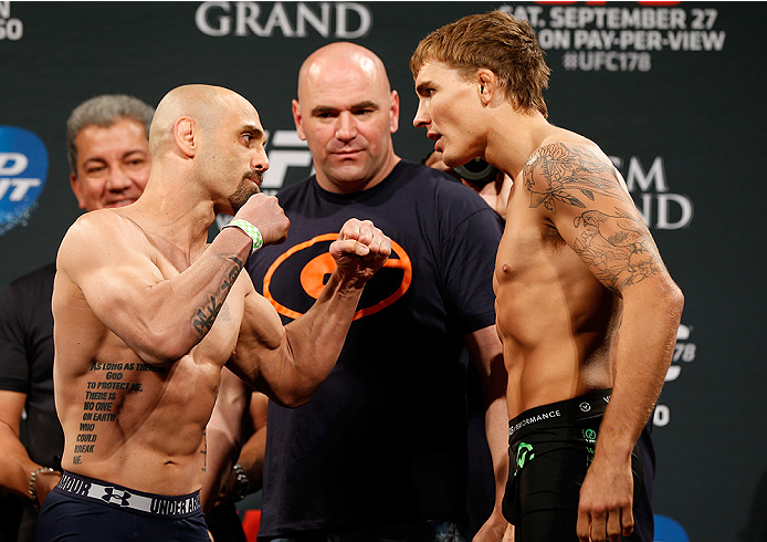 LAS VEGAS, NV - SEPTEMBER 26:  (L-R) Opponents Manvel Gamburyan of Armenia and Cody Gibson face off during the UFC 178 weigh-in at the MGM Grand Conference Center on September 26, 2014 in Las Vegas, Nevada. (Photo by Josh Hedges/Zuffa LLC/Zuffa LLC via Ge