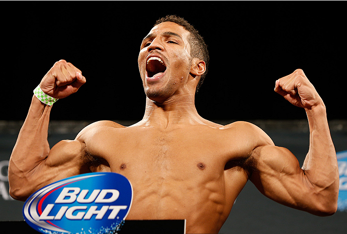 LAS VEGAS, NV - SEPTEMBER 26:  Kevin Lee weighs in during the UFC 178 weigh-in at the MGM Grand Conference Center on September 26, 2014 in Las Vegas, Nevada. (Photo by Josh Hedges/Zuffa LLC/Zuffa LLC via Getty Images)