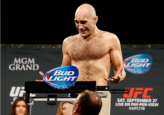 LAS VEGAS, NV - SEPTEMBER 26:  Brian Ebersole weighs in during the UFC 178 weigh-in at the MGM Grand Conference Center on September 26, 2014 in Las Vegas, Nevada. (Photo by Josh Hedges/Zuffa LLC/Zuffa LLC via Getty Images)