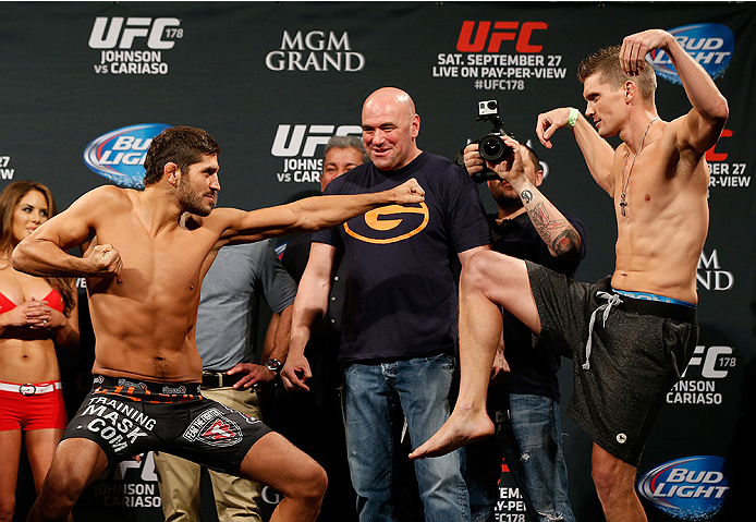 LAS VEGAS, NV - SEPTEMBER 26:  (L-R) Opponents Patrick Cote of Canada and Stephen Thompson face off during the UFC 178 weigh-in at the MGM Grand Conference Center on September 26, 2014 in Las Vegas, Nevada. (Photo by Josh Hedges/Zuffa LLC/Zuffa LLC via Ge
